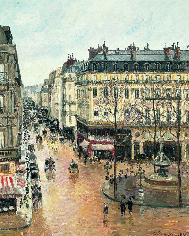 pissarro-rue-saint-honore-pola-tarde-efecto-de-chuvia-1897